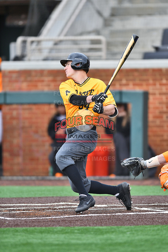 Appalachian State Mountaineers right fielder Phillip Cole (34) swings at a pitch during a game against the Tennessee Volunteers at Lindsey Nelson Stadium on February 16, 2019 in Knoxville, Tennessee. The Volunteers defeated Mountaineers 2-0. (Tony Farlow/Four Seam Images)