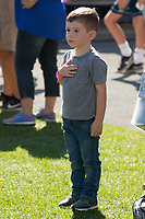 A young patriotic Pitt fan honors the National Anthem. The North Carolina Wolfpack defeated the Pitt Panthers 35-17 at Heinz Field, Pittsburgh, PA on October 14, 2017.