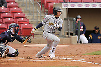 Burlington Bees second baseman Livan Soto (7) swings at a pitch against the Cedar Rapids Kernels at Veterans Memorial Stadium on April 14, 2019 in Cedar Rapids, Iowa.  The Bees won 6-2.  (Dennis Hubbard/Four Seam Images)