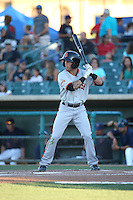 Robbie Garvey (2) of the San Jose Giants bats against the Lancaster JetHawks during the second game of a doubleheader at The Hanger on July 14, 2016 in Lancaster, California. Lancaster defeated San Jose, 3-0. (Larry Goren/Four Seam Images)