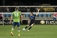 SAN JOSE, CA - OCTOBER 18: Florian Jungwirth #23 of the San Jose Earthquakes during a game between Seattle Sounders FC and San Jose Earthquakes at Earthquakes Stadium on October 18, 2020 in San Jose, California.