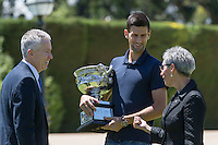 February 1, 2016: Novak Djokovic of Serbia with the CEO of Tennis Australia Craig Tiley and Her Excellency the Honourable Linda Dessau AM<br /> Governor of Victoria during the Men's Champion Photocall  at Government House, Melbourne, Australia. Photo Sydney Low