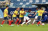 CUIABA – BRASIL, 13-06-2021: Colombia (COL) y Ecuador (ECU) durante partido de la Copa América Brasil 2021, grupo A, jugado en el Arena Pantanal de la ciudad de Cuiabá, Brasil. / Colombia (COL) and Ecuador (ECU) during match as part of Copa America Brazil 2021, group A, match played at Arena Pantanal in Cuiaba, Brazil. Photos: VizzorImage / FCF / Cont /