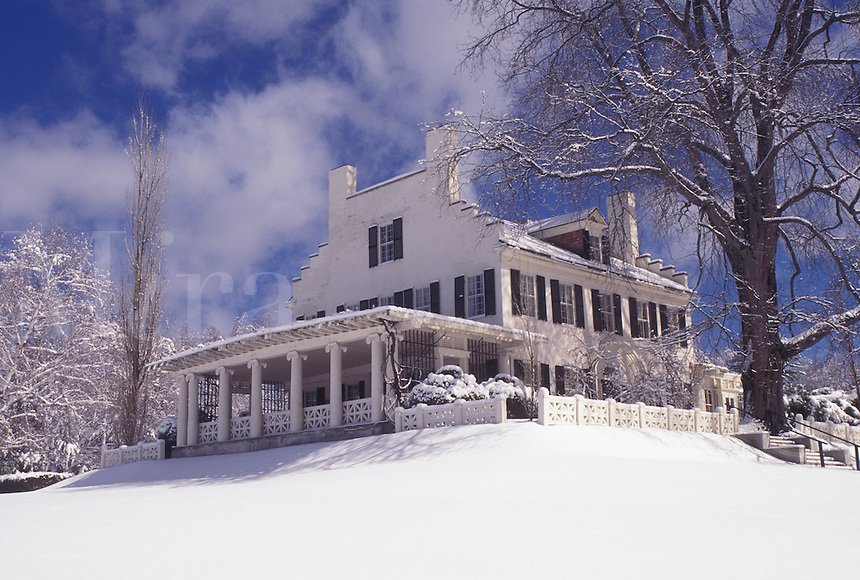 New Hampshire, NH, Cornish, Saint-Gaudens National Historical Site. Home of the sculptor Augustus Saint-Gaudens in the snow in winter.