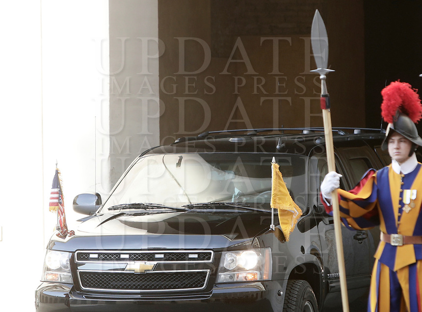 US President Donald Trump arrives at the San Damaso courtyard for his private audience with Pope Francis, at the Vatican, May 24, 2017.<br /> UPDATE IMAGES PRESS/Isabella Bonotto<br /> STRICTLY ONLY FOR EDITORIAL USE