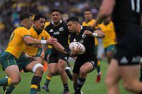 NZ's Richie Mo'unga in action during the Bledisloe Cup rugby union match between the New Zealand All Blacks and Australia Wallabies at Sky Stadium in Wellington, New Zealand on Sunday, 11 October 2020. Photo: Dave Lintott / lintottphoto.co.nz