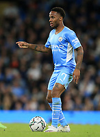 21st September 2021; Etihad Stadium,Manchester, England; EFL Cup Football Manchester City versus Wycombe Wanderers; Raheem Sterling of Manchester City holds the ball up