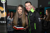 Pictured: Bersant Celina of Swansea City during the Swansea player and fans bowling evening at Tenpin Swansea, Swansea, Wales, UK. Wednesday 22 January 2020