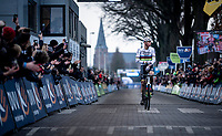 seems like a 'walk in the park' victory for Mathieu van der Poel (NED/Corendon-Circus) as he crosses the finish line & wins his 3rd consecutive Azencross > Loenhout 2019 (BEL)<br />  <br /> ©kramon