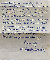BNPS.co.uk (01202 558833)<br /> Pic: OmegaAuctions/BNPS<br /> <br /> A collection of letters George Harrison's mother wrote to a Beatles fan over a five-year period has emerged for sale.<br /> <br /> Louise Harrison wrote to super fan Lorraine O'Malley from August 1964 until her death in 1970, sharing notable events in the band and Harrison's life like the band getting MBEs and her son's marriage to Pattie Boyd.<br /> <br /> Mrs O'Malley, who started writing as a star-struck 16-year-old, kept the letters safely stored in a safety deposit box for the next 50 years.<br /> <br /> She has now decided to put the 55 letters up for sale with Omega Auctions, based in Merseyside, with an estimate of £6,000.