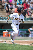 Mike Papi (38) of the Lynchburg Hillcats hustles down the first base line against the Frederick Keys at Calvin Falwell Field at Lynchburg City Stadium on May 14, 2015 in Lynchburg, Virginia.  The Hillcats defeated the Keys 6-3.  (Brian Westerholt/Four Seam Images)
