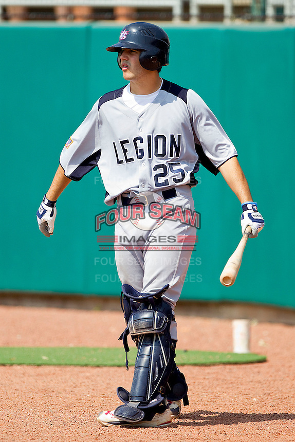 Jason Goldstein #25 of American Legion waits for his turn to bat against NABF at the 2011 Tournament of Stars at the USA Baseball National Training Center on June 26, 2011 in Cary, North Carolina.  NABF defeated American Legion 5-0. (Brian Westerholt/Four Seam Images)