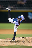 Queen City Knights starting pitcher Michael Kopech (32) follows through on his delivery against the Norfolk Tides at BB&T BallPark on September 1, 2017 in Charlotte, North Carolina.  (Brian Westerholt/Four Seam Images)