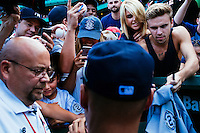 BOSTON, MASS. - SEPT. 28, 2014: Fans try to get Derek Jeter's autograph after the New York Yankees and Boston Red Sox played at Fenway Park. The game is last game of Derek Jeter's career. M. Scott Brauer for The New York Times
