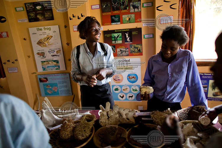 """15 year old Hellen Chola from Chalilo school in Sereje district, examines bone specimens during her first safari in Kasanka National Park. """"A National Park is a place where trees and animals are protected. Even human beings are protected,"""" Helen says. """"I have never seen a wild animal - only domesticated animals like cattle, pigs and goats. If National Parks weren't here, all the trees and animals would be devastated."""" Local schools and women's groups are regularly brought into Kasanka, which is unique in the country and unusual in Africa as it is privately managed and owned by a trust. People are able to see animals flourishing in land which was once free reign for poachers. Combined with anti-poaching scouts, the education programme is on the frontline of conservation methods in the park, showing local people wild animals in their natural habitat."""