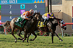 DEL MAR, CA  AUGUST 18:#5 Fatale Bere, ridden by Kent Desormeaux, and #4 Ollie's Candy, ridden by Tyler Baze, battle in the stretch of the Del Mar Oaks Presented by The Jockey Club (Grade 1) on August 18, 2018 at Del Mar Thoroughbred Club in Del Mar, CA.(Photo by Casey Phillips/Eclipse Sportswire/Getty Images