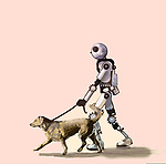 Humorous concept image of a robot walking a dog depicting the increase use of artificial intelligence in our lives