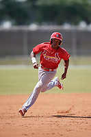 St. Louis Cardinals Magneuris Sierra (7) running the bases during a minor league Spring Training game against the Washington Nationals on March 27, 2017 at the Roger Dean Stadium Complex in Jupiter, Florida.  (Mike Janes/Four Seam Images)