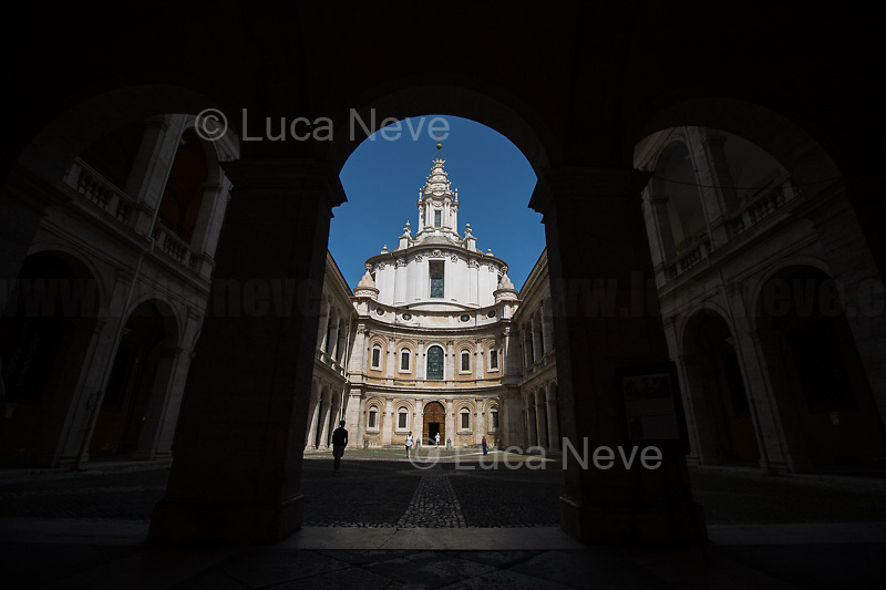 """Rome, 21/06/2019. Today, the Soprintendenza Speciale di Roma opens the gates of one of the 'hidden' treasures of the city of Rome, the Chiesa of Sant'Ivo Alla Sapienza (Church of Saint Ives at La Sapienza University of Rome). The Roman Baroque marvel and masterpiece of the architect Francesco Borromini, with its ecstatic dome and its exceptional Lantern, was built in 1642-1660, a period in which the rivalry between Borromini and the great master Gian Lorenzo Bernini was at its highest level. This small church is located at the east end of the long Giacomo della Porta's cortile, behind the hidden walls of Palazzo alla Sapienza (now used by the State Archives of Rome) and very close to the Senate of Italy. The totally unique interior plan is based on two interpenetrating triangles, a sort of star/hexagon shape, probably resembling a Star of David / Star of Solomon, symbolizing wisdom. The main artwork of the interior is the altarpiece by Pietro da Cortona, portraying St. Yves.<br /> On the 19th February 1968 three students, Paolo Ramundo (26 years), Gianfranco Moltedo (26) and Martino Branca (27), with the help of Professor Paolo Portoghesi (37), occupied the Borromini's dome making one of the first actions the Roman student movement of the '68. The three were nicknamed """"Gli Uccelli"""" (the Birds) for the verses they made during student assemblies. <<[…] We managed to get them out of the busy classrooms and those endless and wordy discussions and bring them to the center of Rome,"""" they recall - """"Ours was a cultural revolution, and where we could go if not in the dome of a revolutionary architect like Borromini."""" […]>> (1.)<br /> <br /> Footnotes and links:<br /> 1. For the Video: I tre 'Uccelli' tornano a Sant'Ivo alla Sapienza: """"Così occupammo la cupola e scoppiٍ il '68"""" (Source, Repubblica.it, 19.02.18, ITA) http://bit.do/eWk9g<br /> http://bit.do/eWqV8 (Wikipedia.org ENG), http://bit.do/eWk9Q (University of Rome), http://bit.do/eWmab (Researchgate.net), http://bit.do"""
