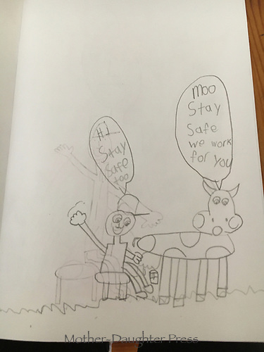 """""""Farmers Stay Safe"""" Drawing by Harlow Kitchens, Grade 1, Yarmouth, ME, USA"""