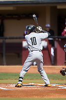 Kal Simmons (10) of the Kennesaw State Owls at bat against the Winthrop Eagles at the Winthrop Ballpark on March 15, 2015 in Rock Hill, South Carolina.  The Eagles defeated the Owls 11-4.  (Brian Westerholt/Four Seam Images)
