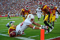 LOS ANGELES, CA - October 29, 2011:  Tyler Gaffney scores Stanford's first touchdown during Stanford's Pac-12 victory over the USC Trojans, giving Stanford a 7 -0 lead.  Stanford won in triple overtime, 56 -48, and extended its winning streak to 16 games.