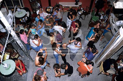 Rio de Janeiro, Brazil. Dancers on the dance floor of the Scenarium nightclub, seen from above.