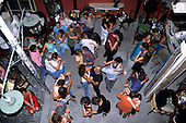 Rio de Janeiro, Brazil. Dancers on the dance floor of the Scenarium nightclub, seen from above.