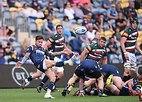 29th May 2021; Sixways Stadium, Worcester, Worcestershire, England; Premiership Rugby, Worcester Warriors versus Leicester Tigers; Francois Hougaard of Worcester Warriors kicks from the base of the ruck