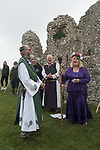 Dorset Druid Grove, Autumn Equinox at Knowlton prehistoric henge monument and ruined church. 2021.<br /> Ian Temple, Arch Druid, Tony the  Keeper and Guardian of the Grove. Thobbs and the Handmaiden to Nerthus at the end of the two hour ceremony.