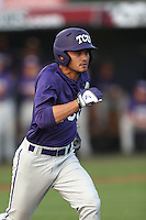 Elliott Barzilli (5) of the TCU Horned Frogs runs the bases during a game against the Loyola Marymount Lions at Page Stadium on March 16, 2015 in Los Angeles, California. TCU defeated Loyola, 6-2. (Larry Goren/Four Seam Images)