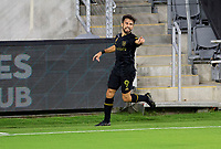 LOS ANGELES, CA - SEPTEMBER 02: Diego Rossi #9 of LAFC celebrates his goal during a game between San Jose Earthquakes and Los Angeles FC at Banc of California stadium on September 02, 2020 in Los Angeles, California.