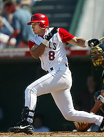 Jose Nieves of the Los Angeles Angels bats during a 2002 MLB season game at Angel Stadium, in Anaheim, California. (Larry Goren/Four Seam Images)