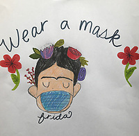 """Wear a Mask"" Drawing by Ruby Anderson, Grade 4, Yarmouth, ME, USA"