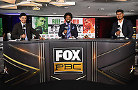 LOS ANGELES, CA - APRIL 30: (L-R) Ray Flores, Shawn Porter, and Mikey Garcia at the official weigh-in for the Andy Ruiz Jr. vs Chris Arreola Fox Sports PBC Pay-Per-View in Los Angeles, California on April 30, 2021. The PPV fight is on May 1, 2021 at Dignity Health Sports Park in Carson, CA. (Photo by Frank Micelotta/Fox Sports/PictureGroup)