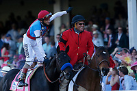 1st May 2021; Kentucky, USA;  Jockey John Velazquez waves to the fans after winning the 147th running of the Kentucky Derby on Medina Spirit  (8) on May 01, 2021 at Churchill Downs in Louisville