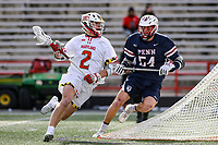College Park, MD - February 15, 2020: Maryland Terrapins midfielder Bubba Fairman (2) runs with the ball during the game between Penn and Maryland at  Capital One Field at Maryland Stadium in College Park, MD.  (Photo by Elliott Brown/Media Images International)