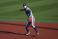 Florida Atlantic Owls second baseman Sam Low (6) on defense against the Charlotte 49ers at Hayes Stadium on April 2, 2021 in Charlotte, North Carolina. The 49ers defeated the Owls 9-5. (Brian Westerholt/Four Seam Images)