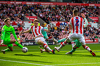 11th September 2021;  Bet365 Stadium, Stoke, Staffordshire, England; EFL Championship football, Stoke City versus Huddersfield Town; Harry Toffolo of Huddersfield Town scores a 46th min goal a rebound of a freekick