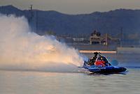 Nov. 22, 2008; Chandler, AZ, USA; IHBA top fuel hydro driver Bob Parish during qualifying for the Napa Auto Parts World Finals at Firebird Lake. Mandatory Credit: Mark J. Rebilas-