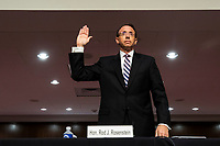 Former United States Deputy Attorney General Rod Rosenstein is sworn-in to testify before a Republican-led Senate Judiciary Committee hearing on ëCrossfire Hurricane,í the FBI's probe into Russian election interference and the 2016 Trump campaign in the Dirksen Senate Office Building in Washington, DC, USA, 03 June 2020.<br /> Credit: Jim LoScalzo / Pool via CNP/AdMedia