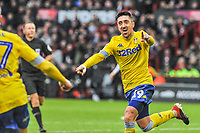 Leeds United's midfielder Pablo Hernandez (19) puts his side `1-0 up during the Sky Bet Championship match between Sheff United and Leeds United at Bramall Lane, Sheffield, England on 1 December 2018. Photo by Stephen Buckley / PRiME Media Images.