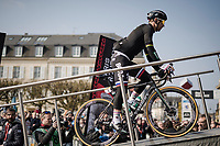 defending Roubaix champion Peter SAGAN (SVN/BORA-Hansgrohe) onto the sign-on podium<br /> <br /> 117th Paris-Roubaix 2019 (1.UWT)<br /> One day race from Compiègne to Roubaix (FRA/257km)<br /> <br /> ©kramon