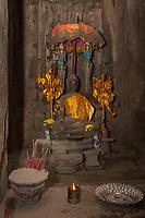 "Cambodia, Bayon Temple, late 12th-13th. Century.  Buddha Shrine, Buddha demonstrating the Bhumisparsha Mudra, ""earth is my witness."""