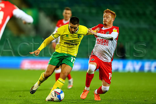 3rd November 2020; Carrow Road, Norwich, Norfolk, England, English Football League Championship Football, Norwich versus Millwall; Ryan Woods of Millwall challenges Emi Buendia of Norwich City