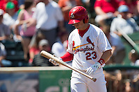 James Ramsey (23) of the Springfield Cardinals walks back to the dugout after striking out during a game against the Tulsa Drillers at Hammons Field on May 4, 2014 in Springfield, Missouri. (David Welker/Four Seam Images)