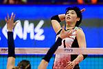 Ai Kurogo of Japan attacks during the FIVB Volleyball Nations League Hong Kong match between Japan and Italy on May 29, 2018 in Hong Kong, Hong Kong. Photo by Marcio Rodrigo Machado / Power Sport Images