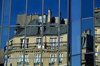 Reflection of an old building in the Châtelet-Les Halles district of Paris, France.