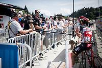 interviewing Thomas de Gendt (BEL/Lotto-Soudal) in 2020<br /> <br /> Stage 5: Megève to Megève (154km)<br /> 72st Critérium du Dauphiné 2020 (2.UWT)<br /> <br /> ©kramon