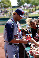 Josh Muecke  -  Round Rock Express signs autographs before a game against the Sacramento RiverCats at Raley Field, Sacramento, CA - 05/19/2009.Photo by:  Bill Mitchell/Four Seam Images